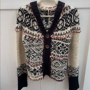 Wool Black/Red/Off White Free People Cardigan